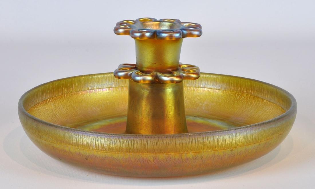 Tiffany Favrille Art Glass Bowl & Flower Frog