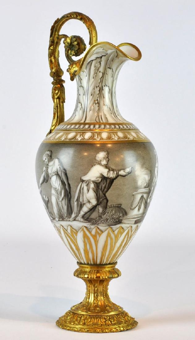 Bronze Mounted French Porcelain Ewer, 19th C.