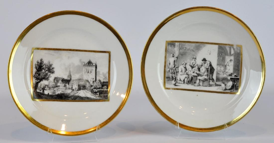 2 Porcelain Plates with Printed Interior Scenes