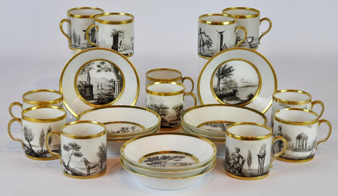 French Porcelain Cups & Fruit Dishes 18/19th C.
