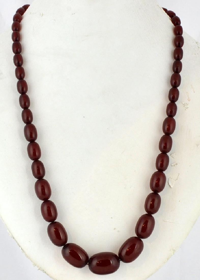 Cherry Amber Bead Necklace