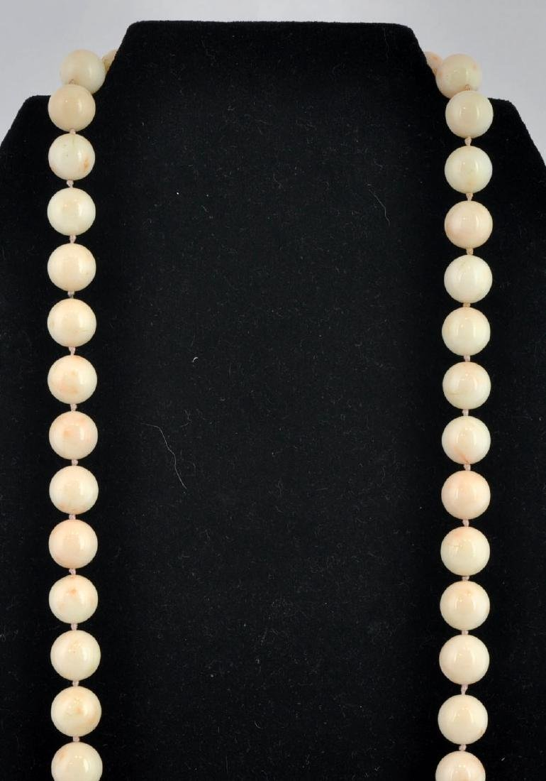 Angel Skin Coral Bead Strand Necklace