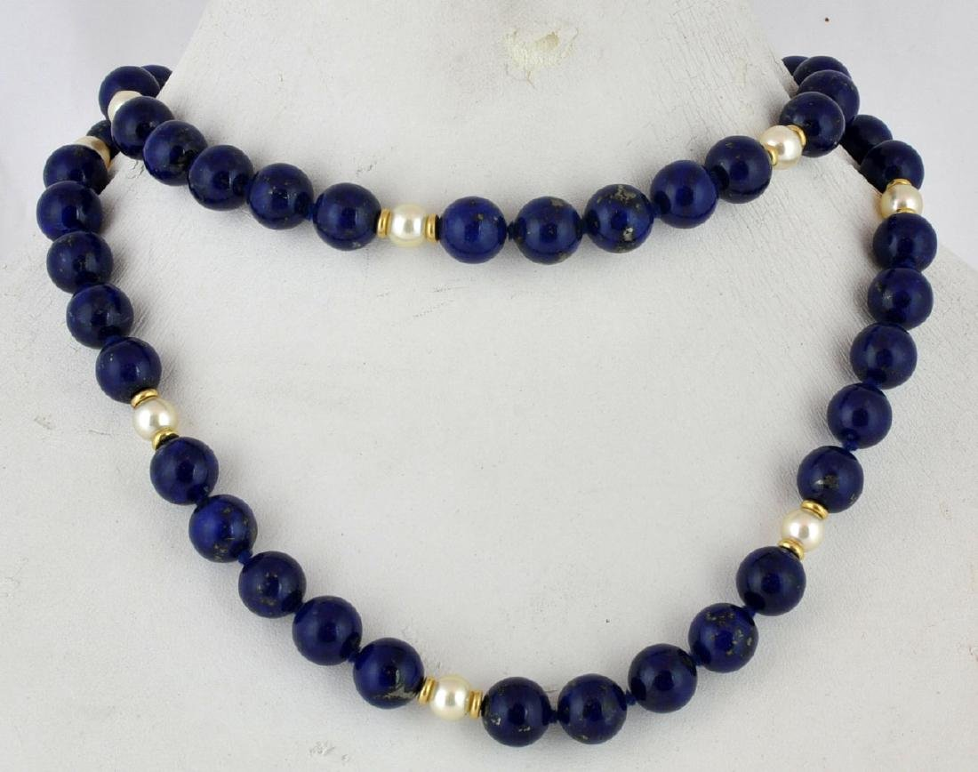 Lapis Lazuli & Pearl Necklace