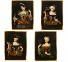 4 18th C. Continental Portraits Of A Woman O/c