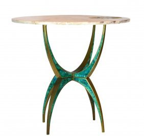 Pepe Mendoza Side Table W/ Marble Top & Inlay