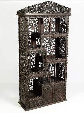 Chinese Hongmu 19th C. Carved Display Cabinet