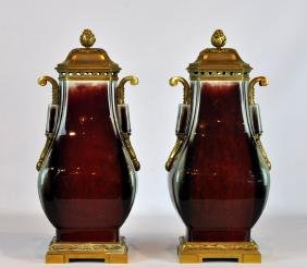 Important Pair Chinese Flambe Bronze Mounted Urns