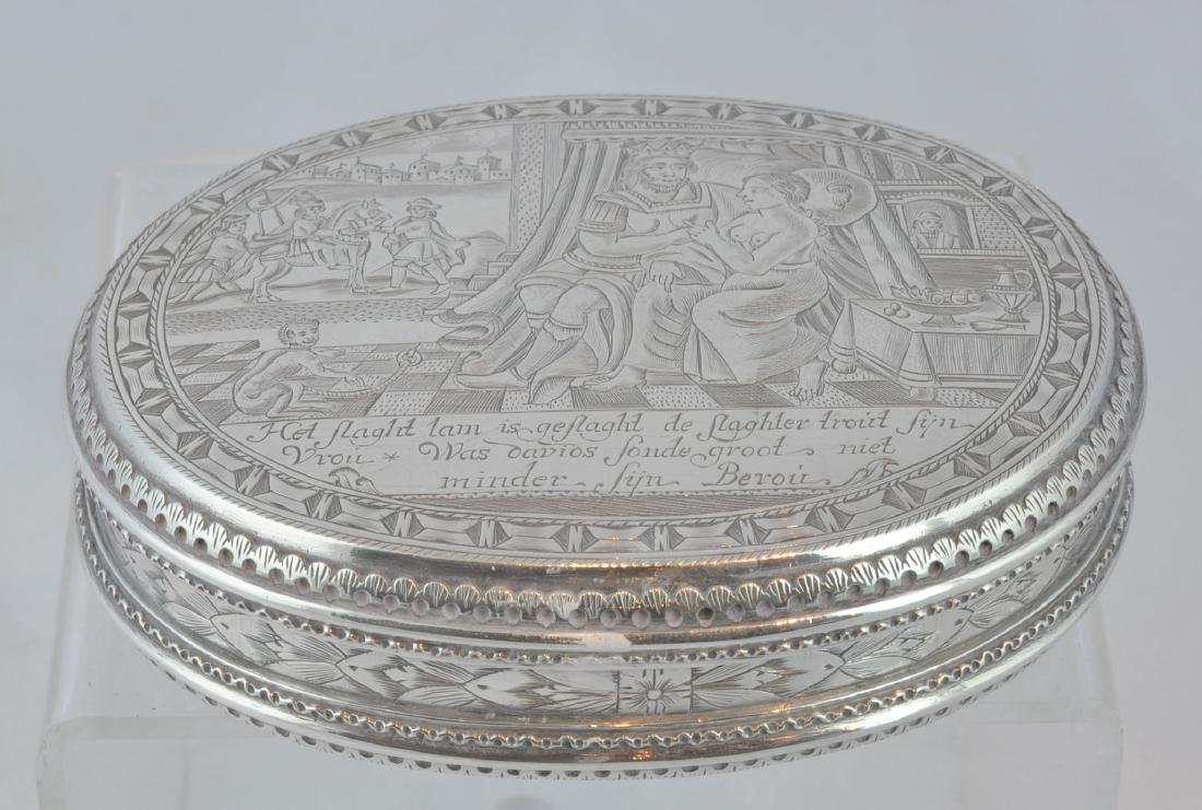 Dutch Netherlands Silver Box with Erotic Scene