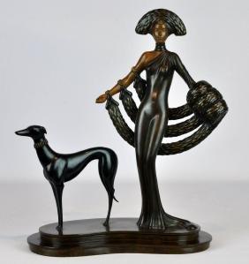 "Erte Art Deco Cast Bronze ""elegance"" Sculpture"