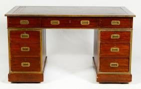 19th C. English Leather Top Campaign Desk