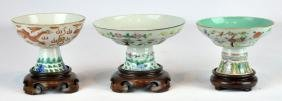 3 Chinese Porcelain Pedestal Dishes On Bases