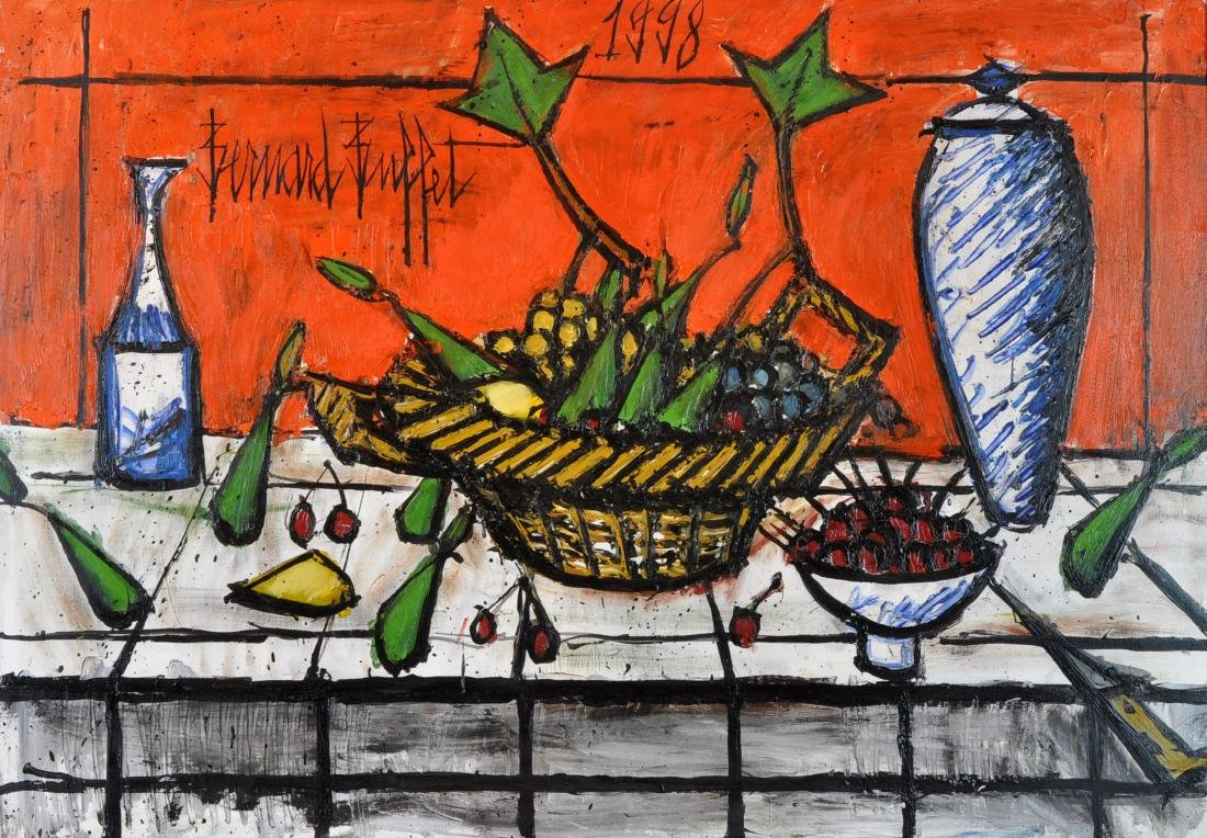 "Bernard Buffet ""Nature Morte au Fond Rouge"" O/C"