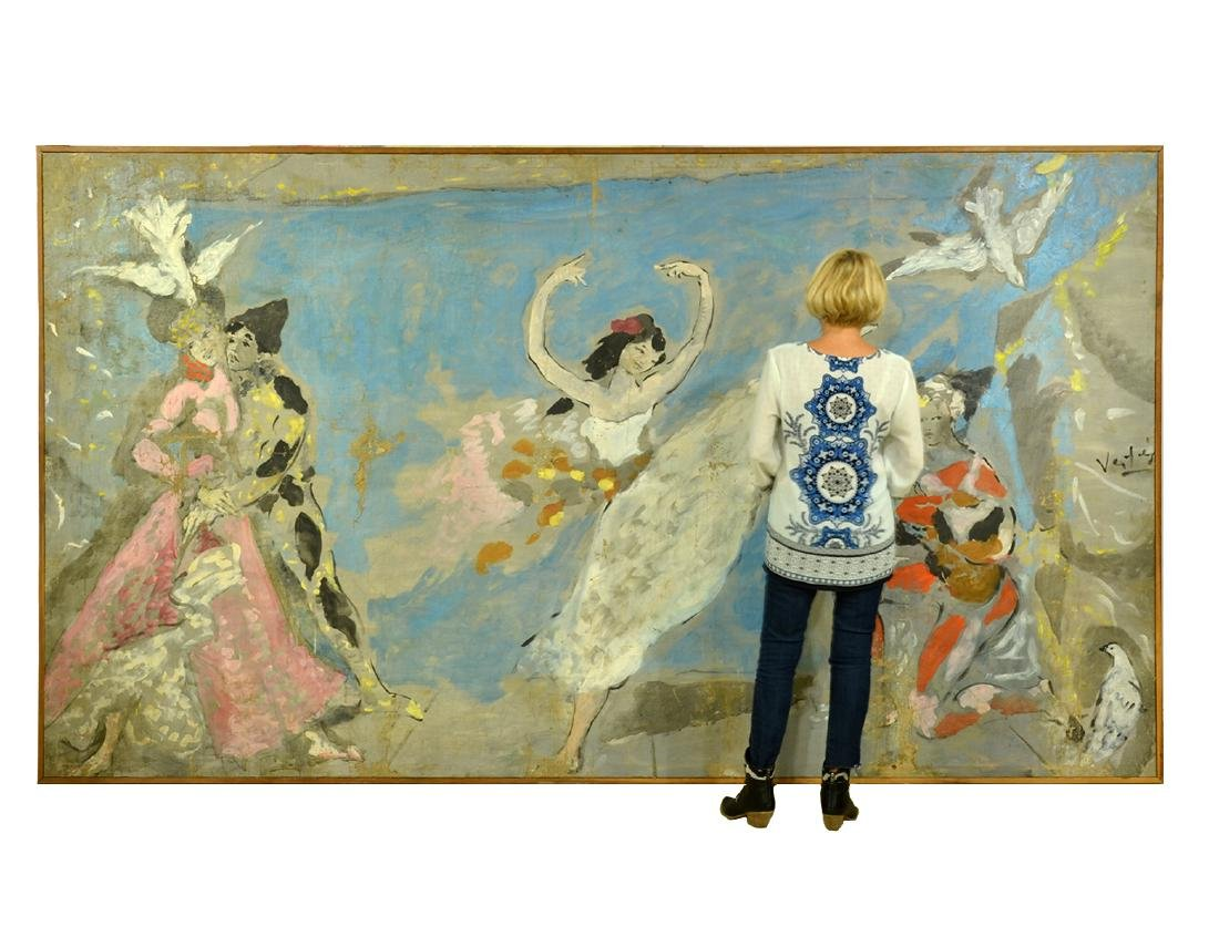 Marcel Vertes Monumental Oil on Canvas
