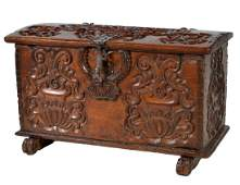 French 19th C. Carved Mahogany Trunk