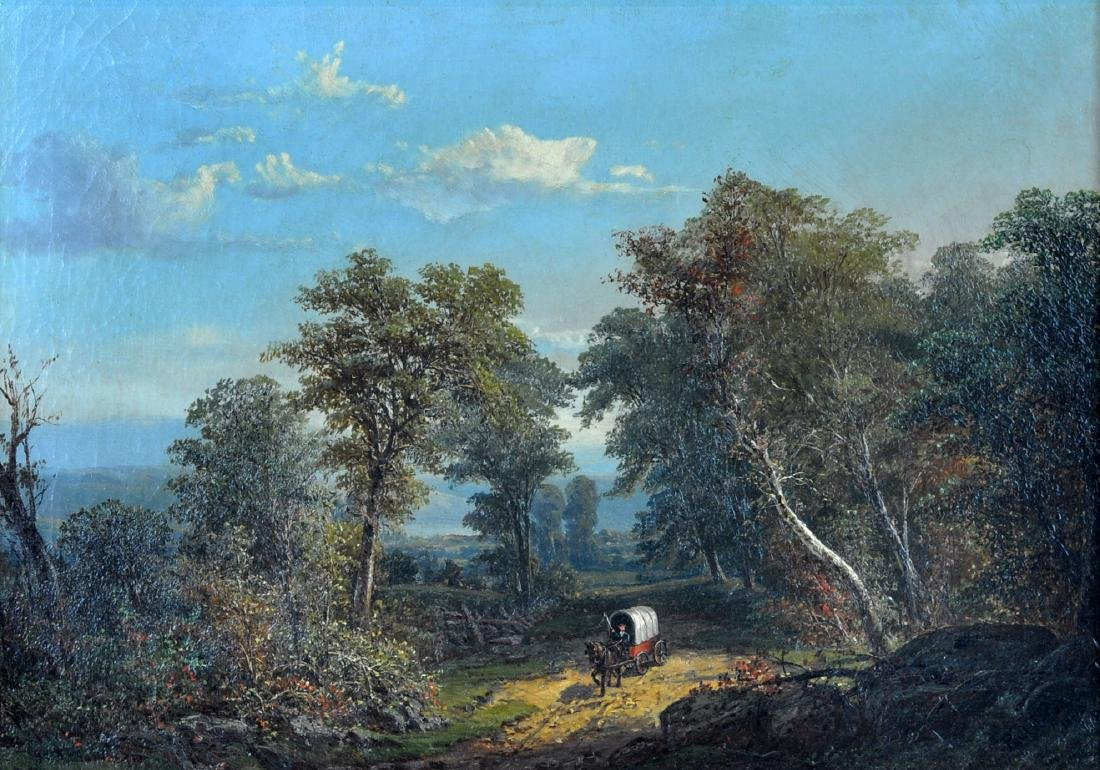 Paul Weber Landscape with Covered Wagon O/C