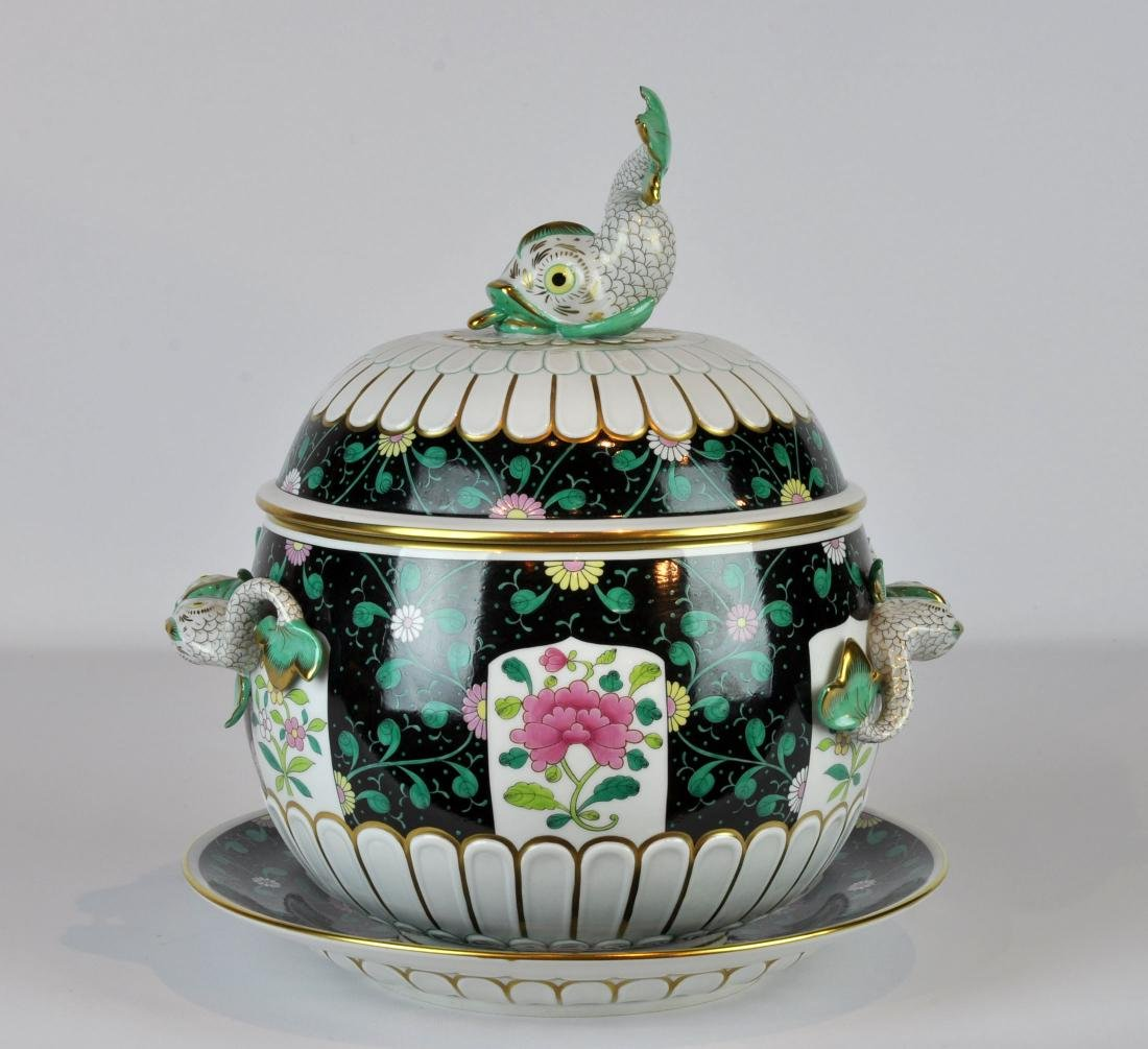 Herend Black Dynasty Tureen with Underplate