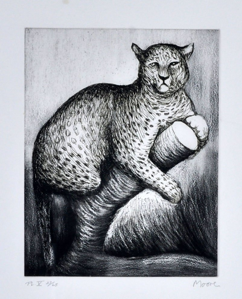Henry Moore Etching of a Leopard on a Limb
