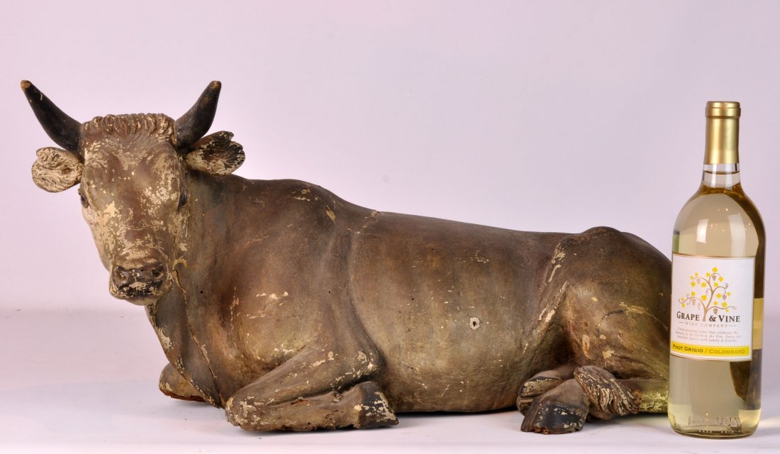 Large Italian 18/19th C. Carved Wood Cow