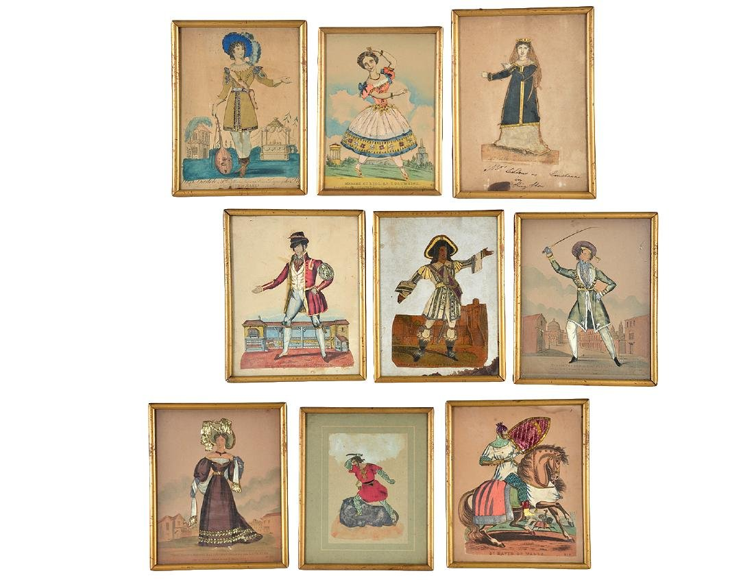 19th C. Foiled & Jeweled French Costumed Figures