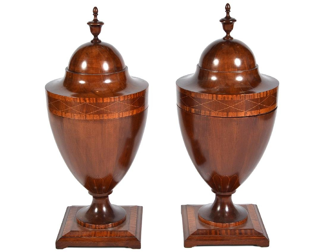 Pr. English 19th C. Wood Cutlery Urns with Inlays