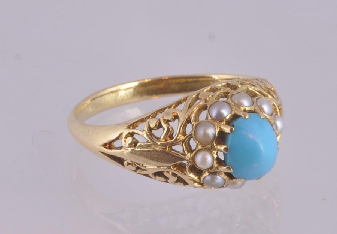 Victorian 18Kt Gold Turquoise & Pearl Ring