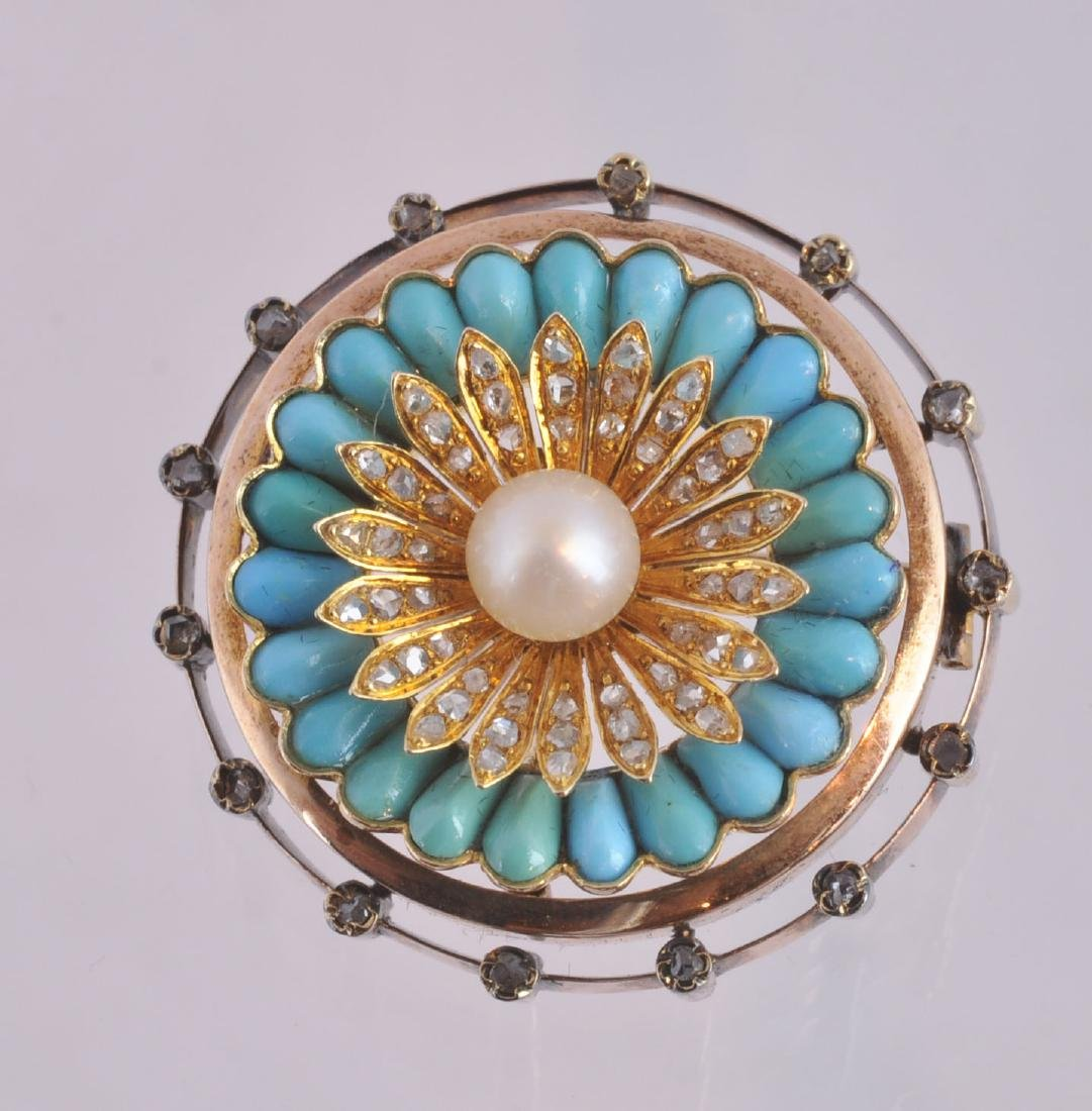Victorian Turquoise, Gold, Diamond & Pearl Brooch