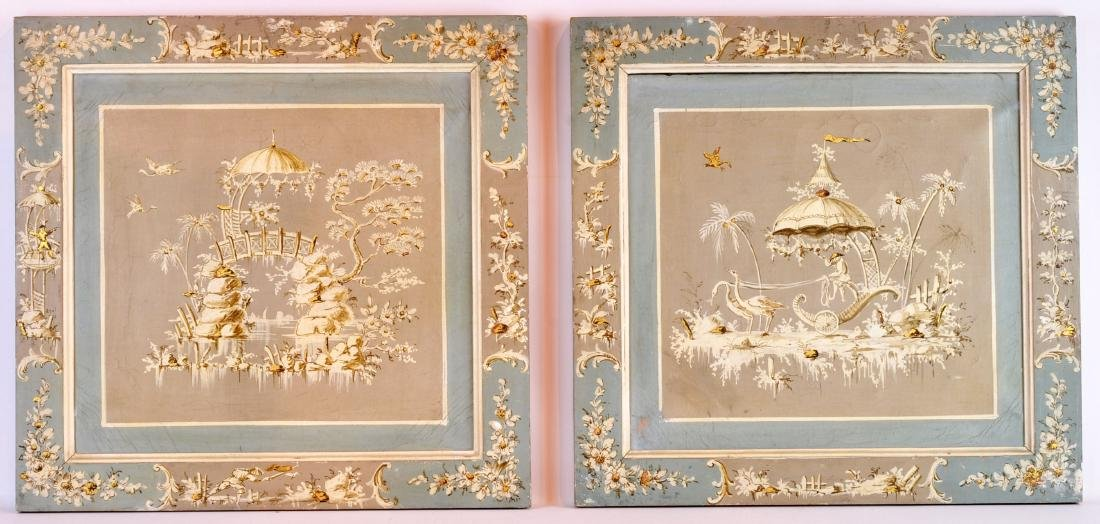 Pair of Early French Paintings in Chinese Design