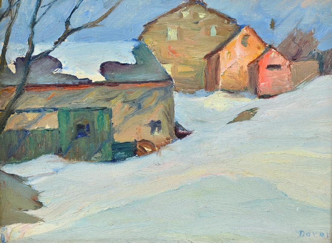 "Joseph B. Davol ""Farmhouse in Winter"" O/B"