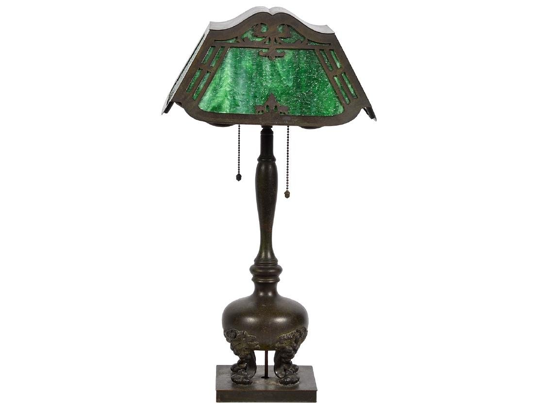 Pairpoint Bronze & Green Glass Table Lamp