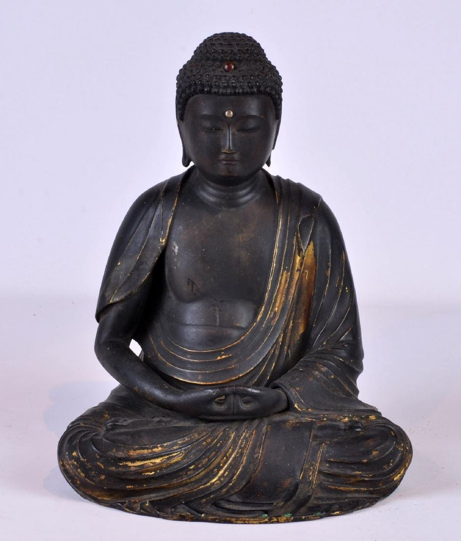 19th Ct. Lacquered Asian Buddha with Gilt Highlights