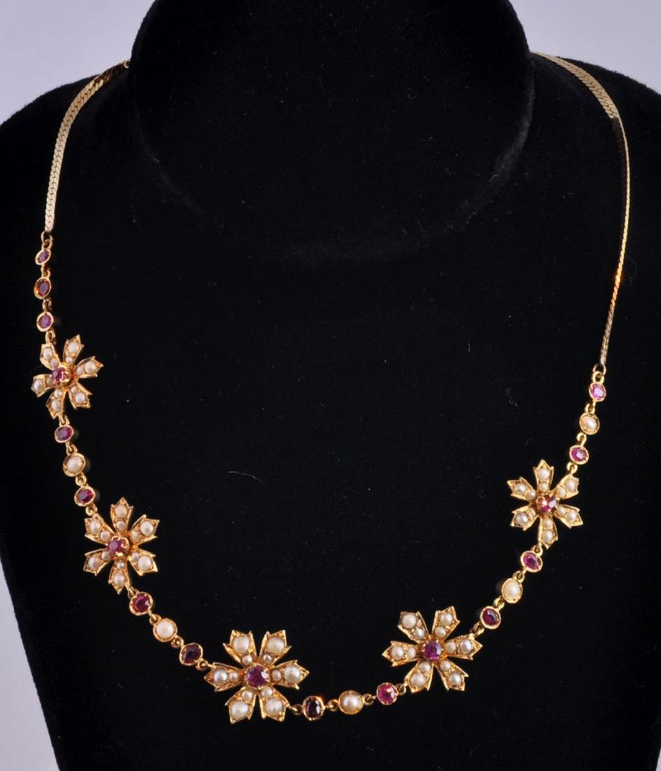 18kt. Gold, Natural Ruby, Seed Pearl Necklace