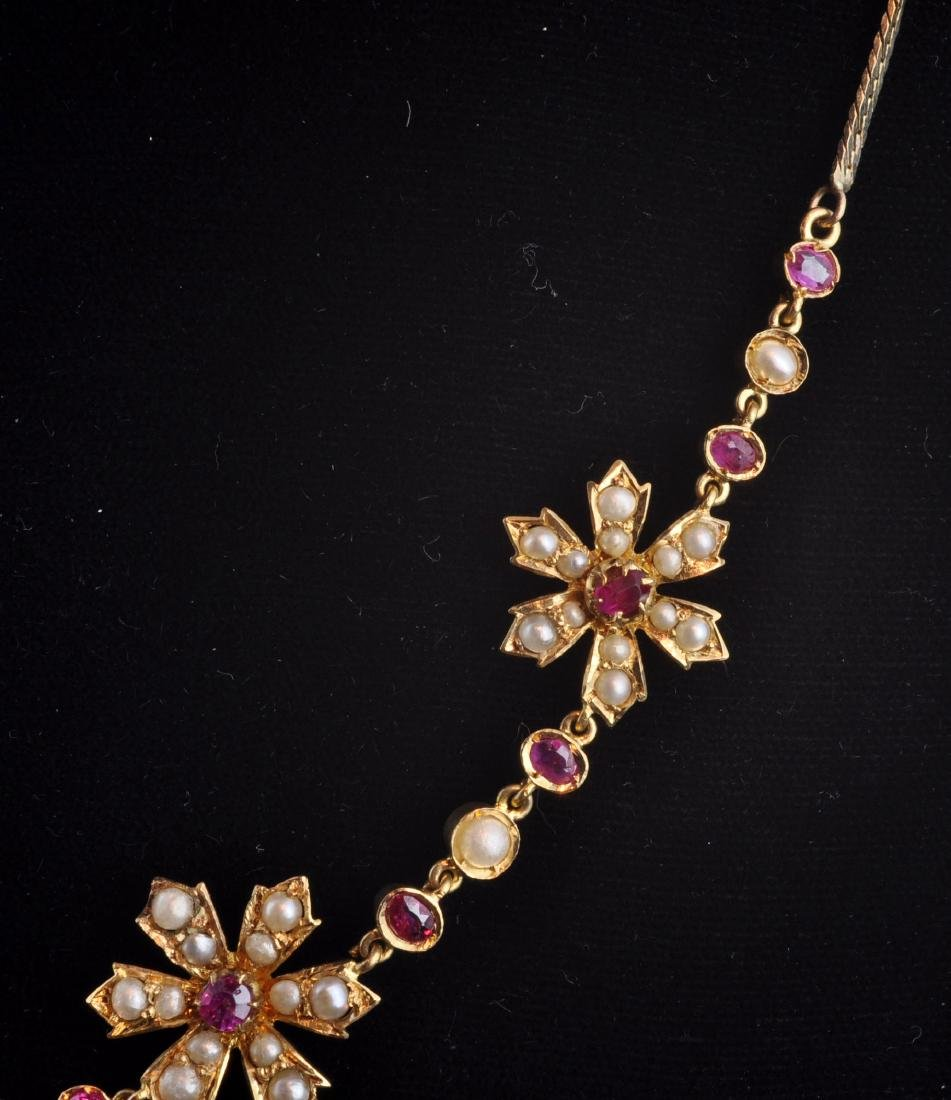 18kt. Gold, Natural Ruby, Seed Pearl Necklace - 3