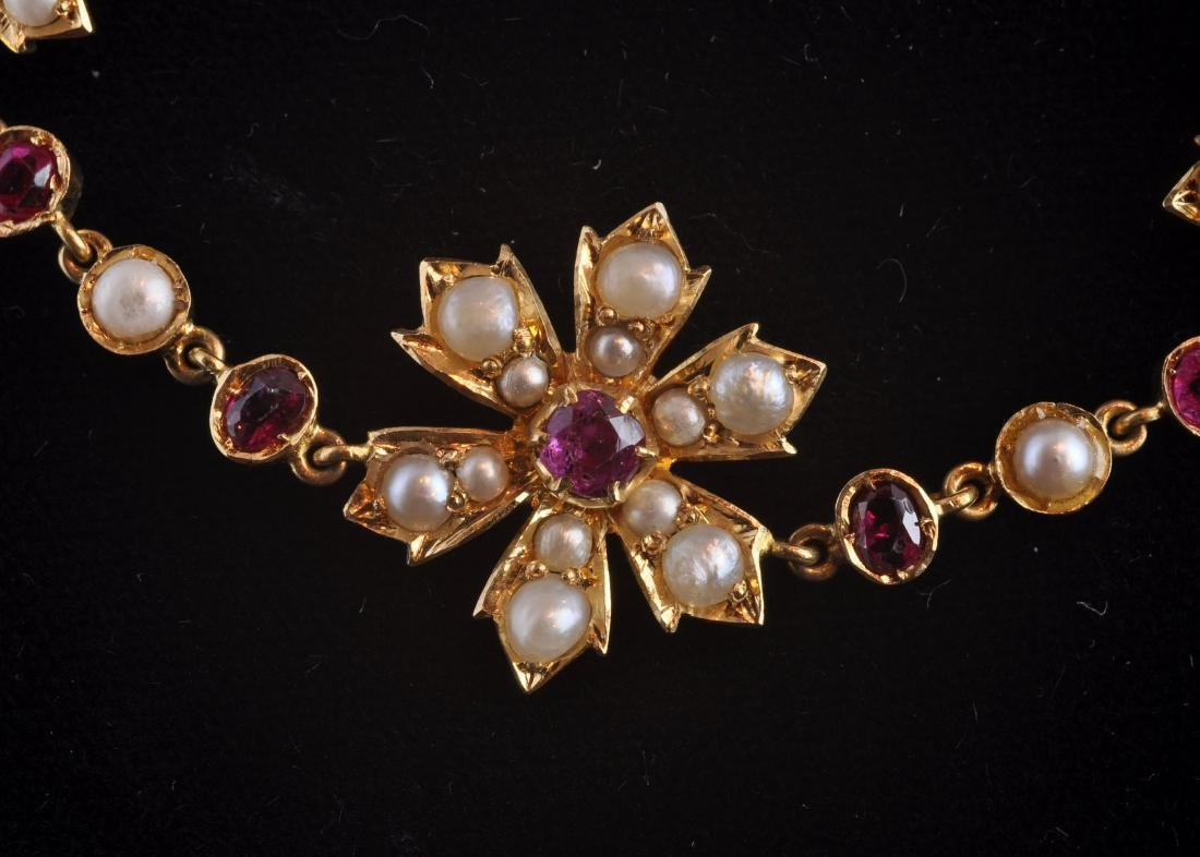 18kt. Gold, Natural Ruby, Seed Pearl Necklace - 4