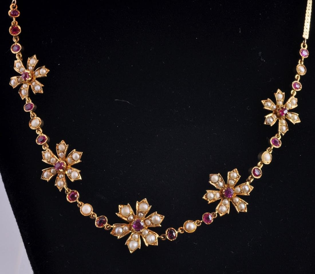 18kt. Gold, Natural Ruby, Seed Pearl Necklace - 5