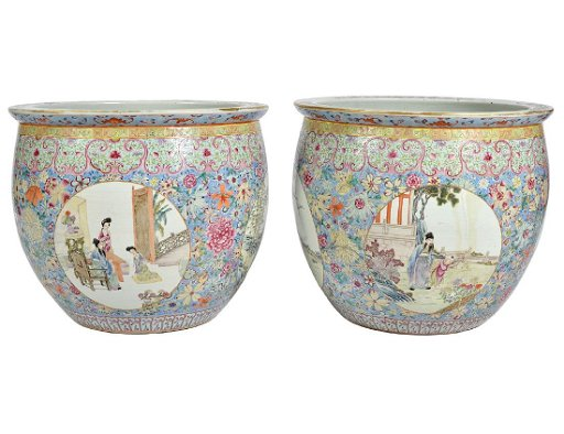 2 Large Chinese Porcelain Fish Bowl Planters 1920s