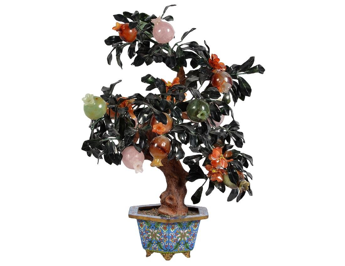 Chinese Jade & Gem Stone Tree in Cloisonne Pot