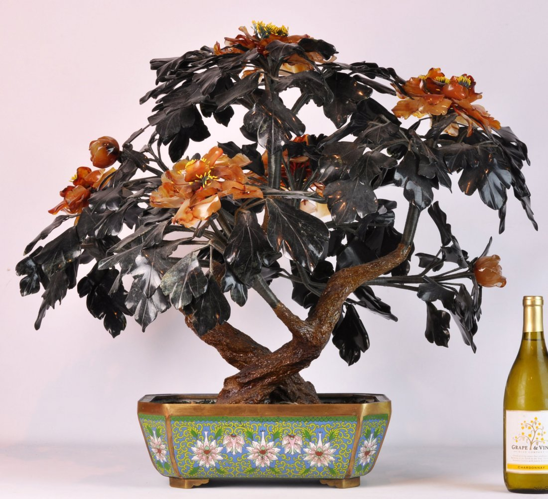 Large Chinese Jade & Gem Stone Tree in Cloisonne