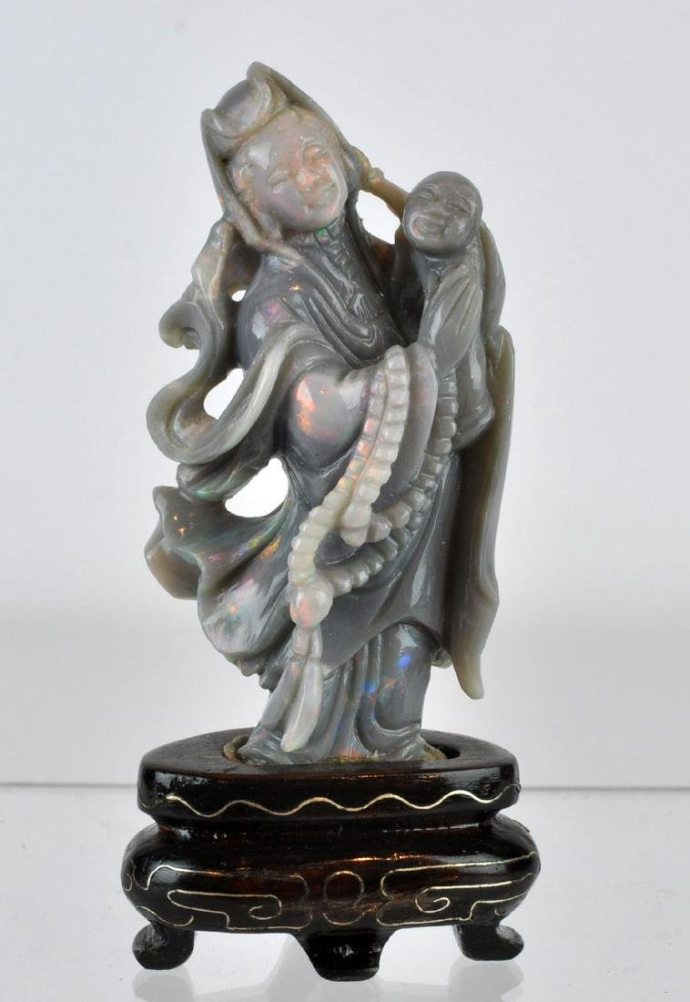 Chinese Carved Opaline Figure on Wood Base