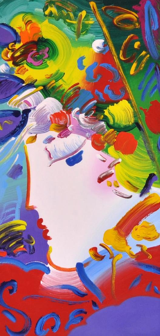 "Peter Max ""Blushing Beauty"" Acrylic on Canvas"
