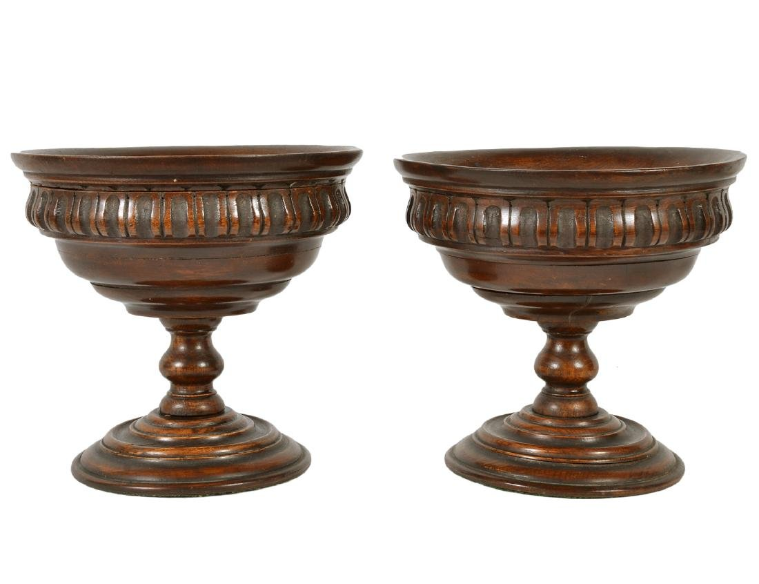 Pr. 19 Ct English Carved Wood Treenware Compotes