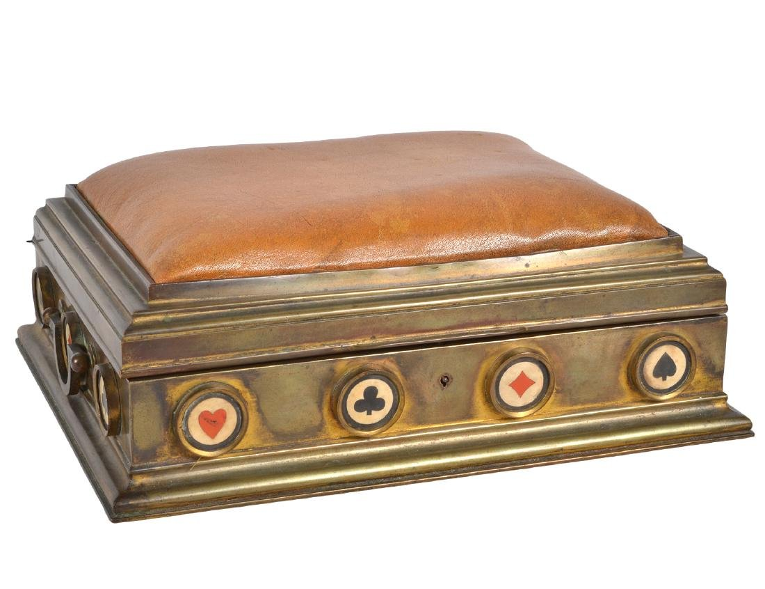 French Wood, Bronze & Leather Card Box