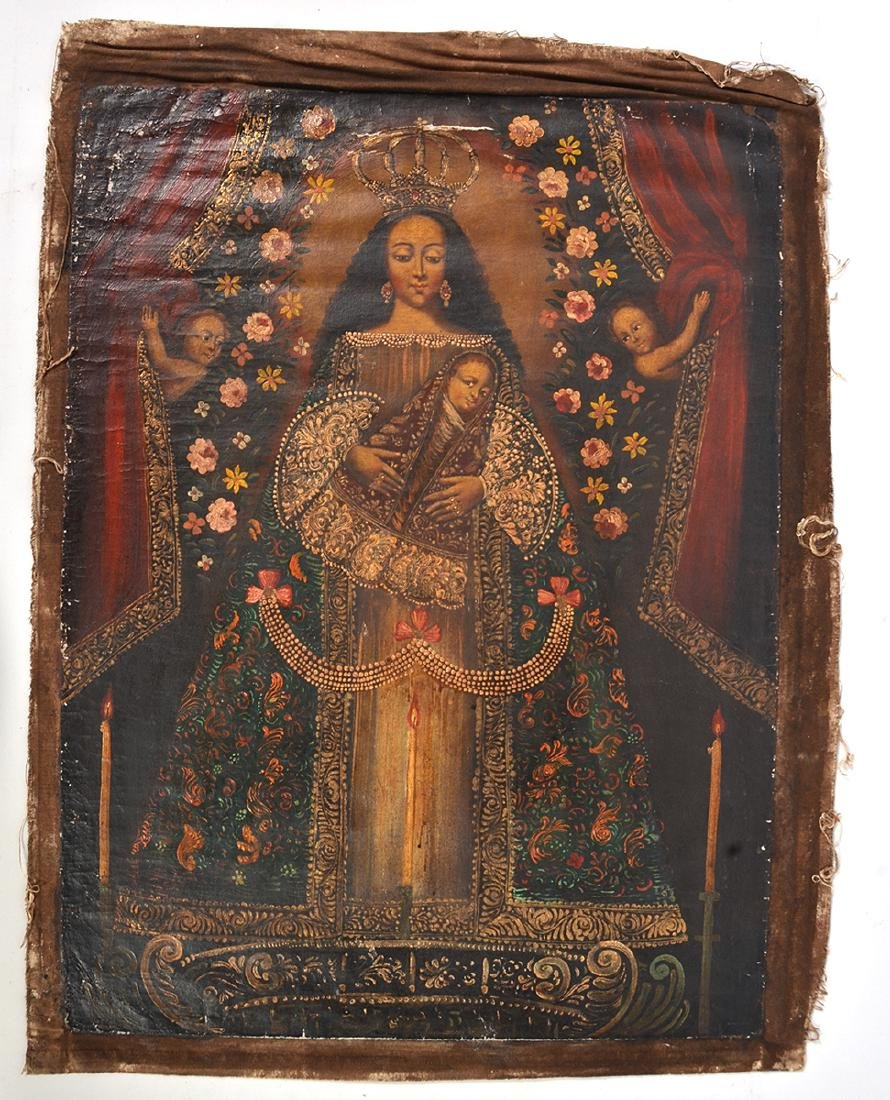 Spanish Cuzco Religious Oil on Canvas