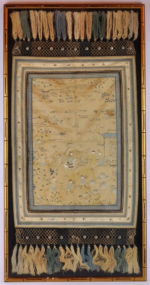 Chinese Embroidered Scarf in Frame