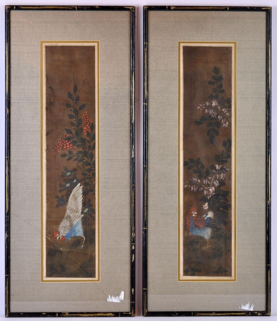 Pr. Chinese Rooster Paintings on Rice Paper