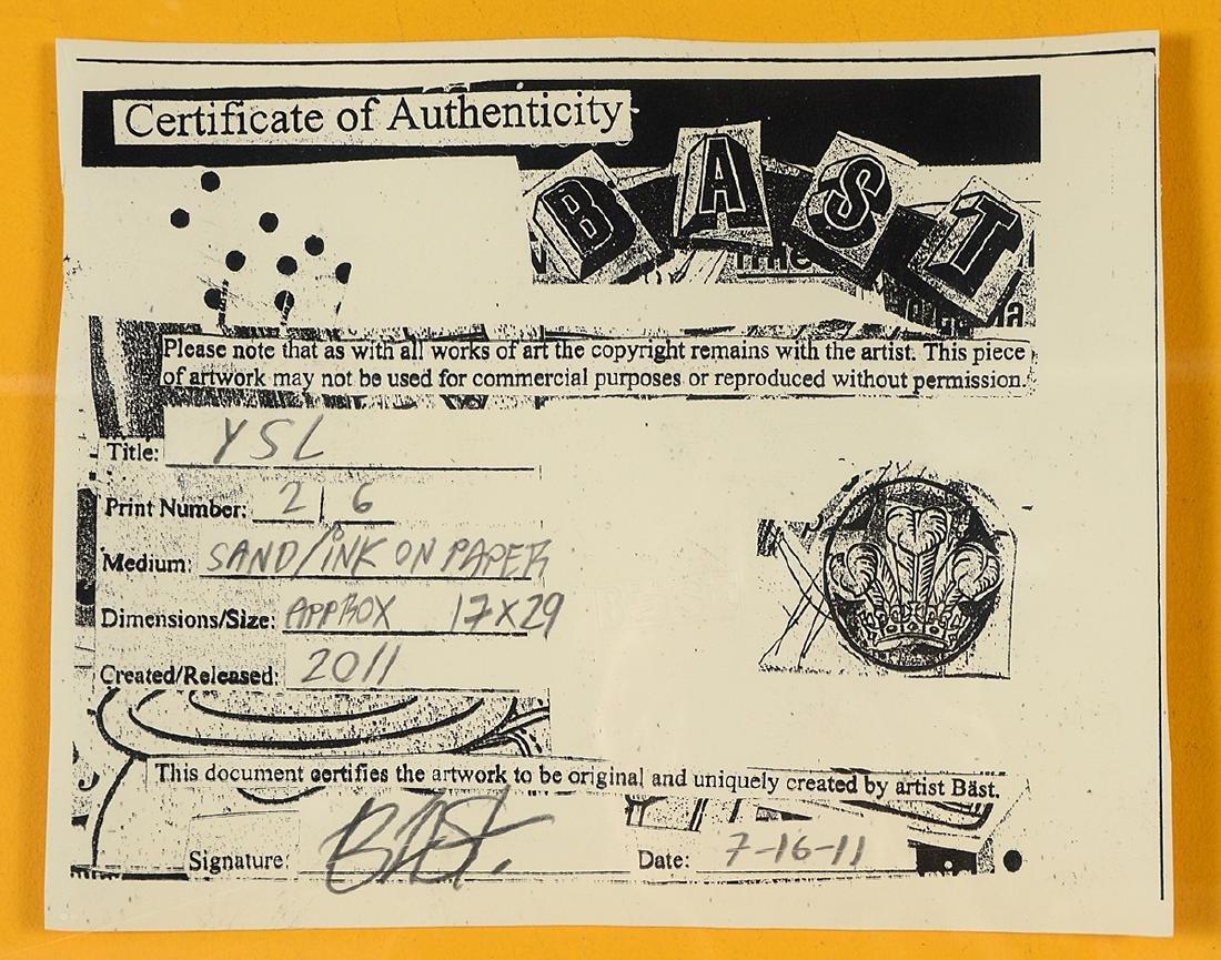 """Bast """"YSL"""" Sand & Ink on Paper - 8"""