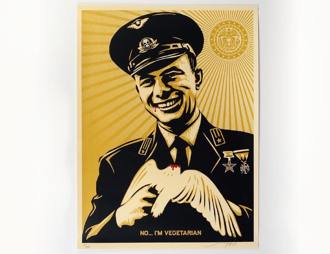 "Shepard Fairey ""No, I'm Vegetarian"" Screen Print"