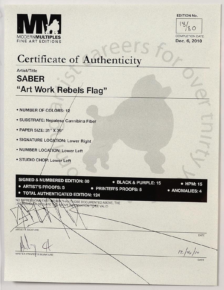 """Saber """"Rebel Flag"""" Print on Canvas - 6"""