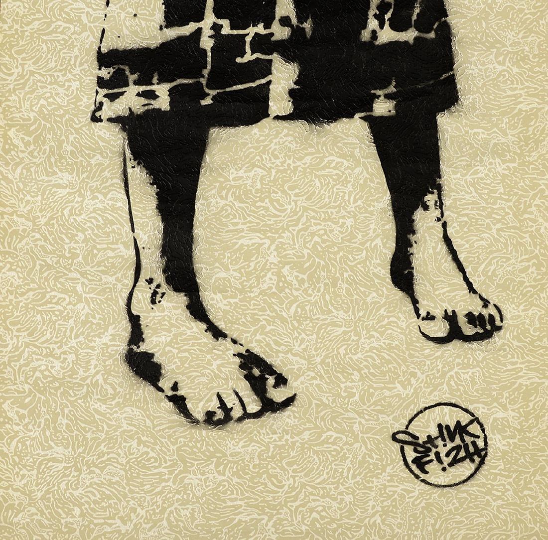 Stinkfish- Spray Paint & Stencil on Wallpaper - 2