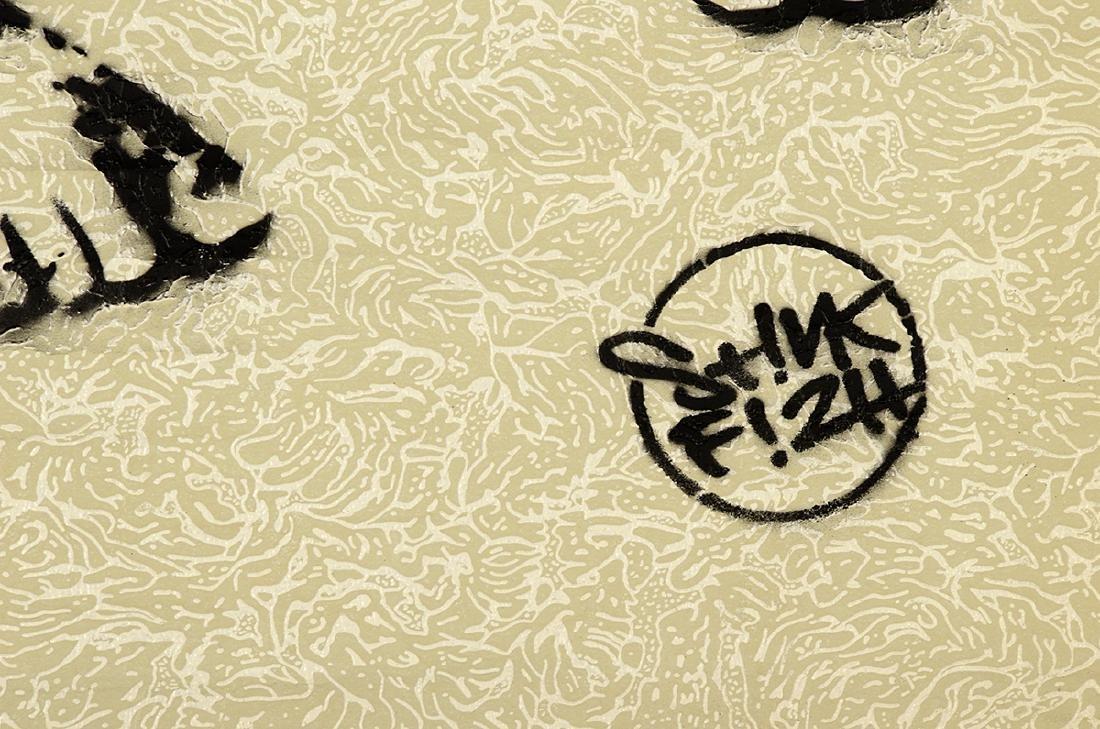 Stinkfish- Spray Paint & Stencil on Wallpaper - 3