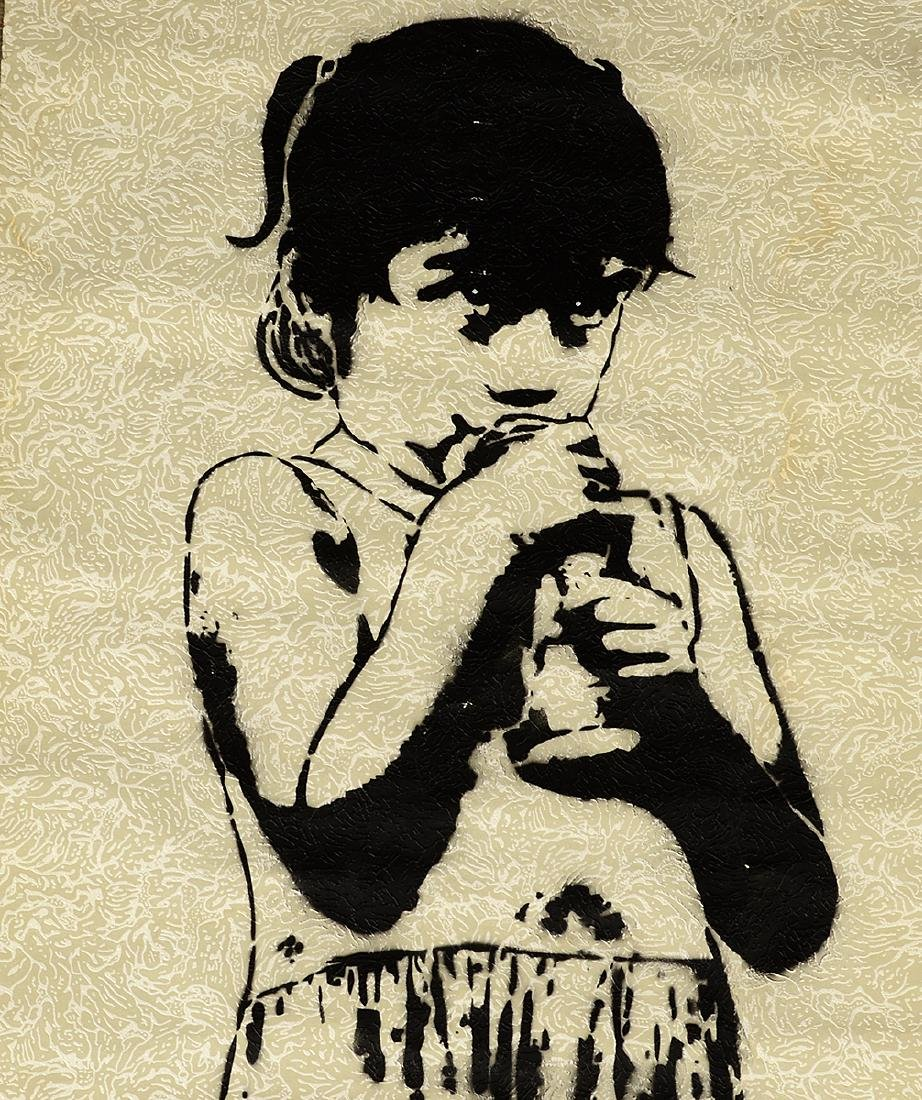Stinkfish- Spray Paint & Stencil on Wallpaper - 4